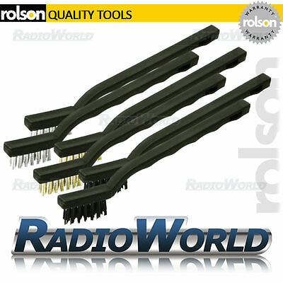 Rolson 6pc 175mm Wire Brush Set Nylon Brass Steel Cleaning Detailing Garage