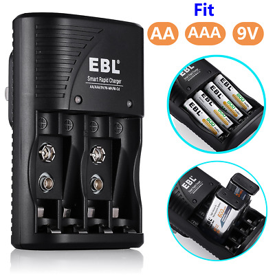 EBL 9V Battery Charger for AA AAA 9-Volt NiMH NiCd Rechargeable Batteries