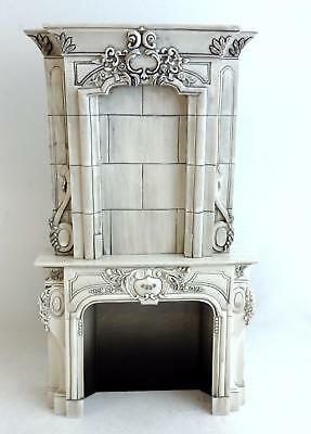 Melody Jane Dolls Houses Splendid Victorian Grey Marble Effect Fireplace Mantle