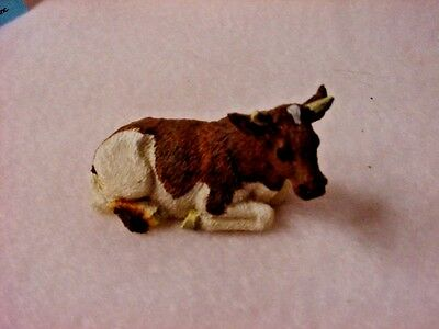 GUERNSEY BULL Resin Figurine TiNY HAND PAINTED MINIATURE Mini Farm Cow Animal