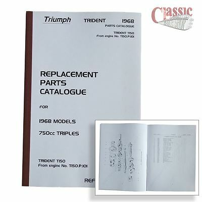 Triumph 1968 Trident T150 From Eng no, P101 Parts Book