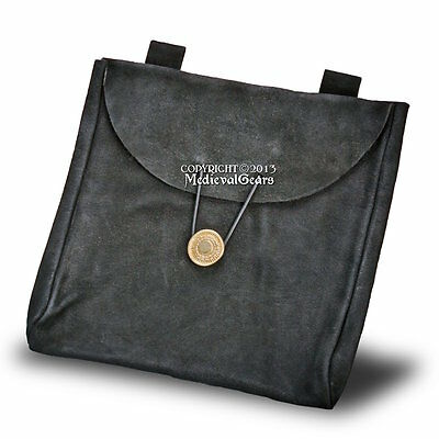 Black Medieval Style Genuine Suede Leather Carry Bag Pouch Renaissance Costume