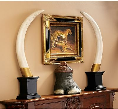 Set of 2: Exotic Elephant Faux Tusk Big Game Hunter's Trophy Sculpture Pachyderm