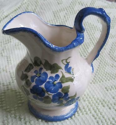 "Cash Family Southern Potteries Hand Painted Blue Violet 5.5"" Pitcher Erwin Tenn."
