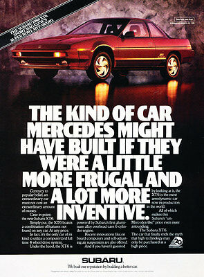 1988 Subaru XT6 - Awarded - Vintage Advertisement Car Print Ad J394