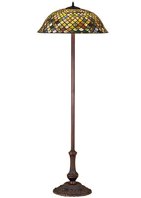 "Meyda Home Indoor Bedroom Decorative Lighting 63""H Tiffany Fishscale Floor Lamp"