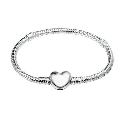 Heart Shape Buckle Bracelet Bangles For Genuine European 925 Silver Charm Beads