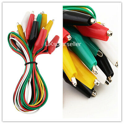 10pcs Double-ended Test Leads Alligator Crocodile Roach Clip Jumper Wire UF