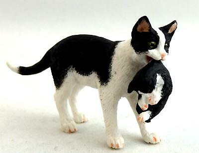 Dolls House Falcon Miniature Pets Black & White Mother Cat Carrying Her Kitten