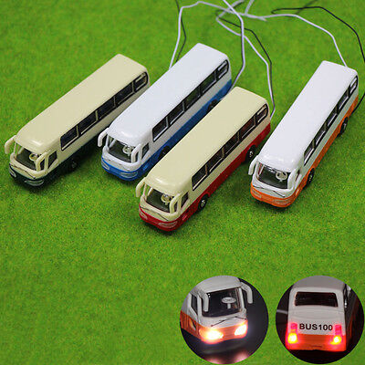 2PCS 1:100 Scale Model Lighted Cars Bus With 12V LEDs Lights for Building Layout