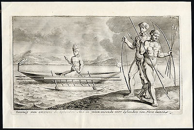 Very rare Antique Print-CANOE-CATAMARAN-INDIGENOUS WARRIOR-NEW GUINEA-Witsen-169