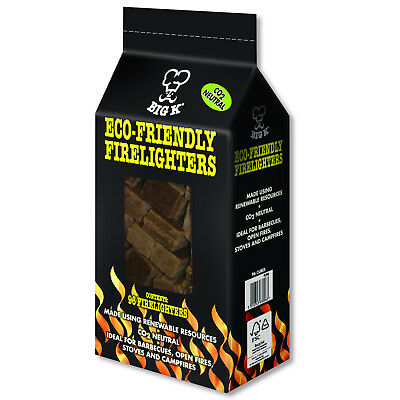 96 x Eco Friendly Big K Firelighters BBQ Log Stoves Chiminea Open Fire Lighters