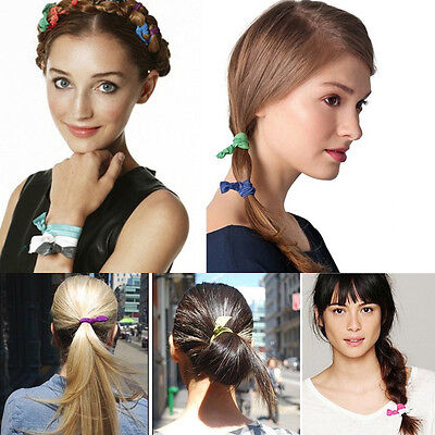 5 Pcs Elastic Hair Tie Ponytail Holder Hairband Bracelets Wristbands Candy Color