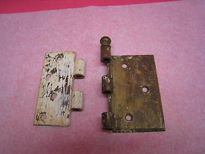 "1 Vintage Heavy Duty Off-Set Brass Hinge , No Pin  4 1/8"" Tall"