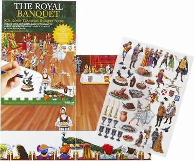 New Royal Banquet Tudor Medieval  Rub Down Transfer Activity Pack. Westair