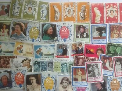 100 Different British Commonwealth Royalty issues Stamp Collection