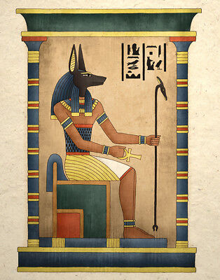 Egyptian Art Print Ancient God Anubis Wall Decor