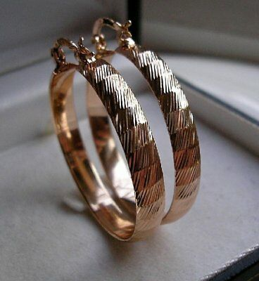 Solid Real 9Ct Gold Large Hoop Earrings Gf! These Are Stunning { 08S}
