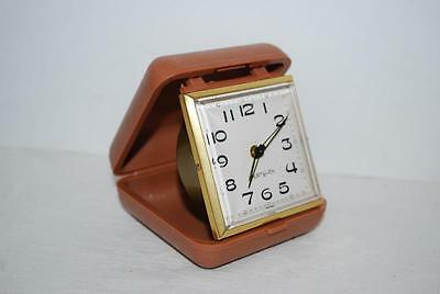 Vintage Westclox Travel Alarm Clock Tan Plastic Case Mid Century Works Great!