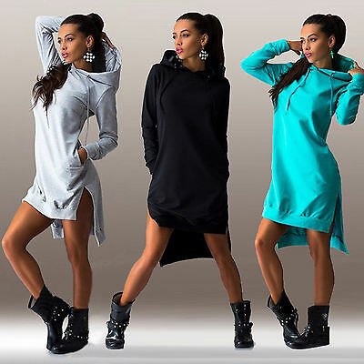 Women Winter Hooded Dress Asymmetric Jumper Long Tops Sweater Ladies Sweatshirt