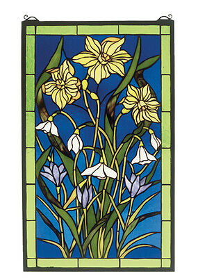 "Meyda Home Decorative Lighting 15""W X 25""H Spring Bouquet Stained Glass Window"