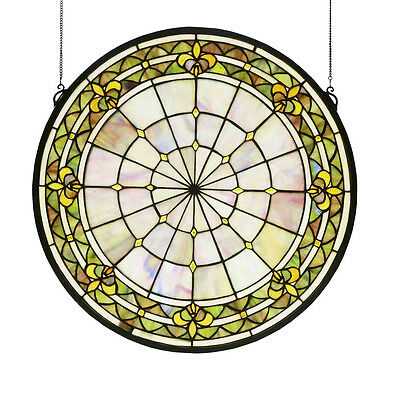 "21""W X 21""H Fleur-De-Lis Medallion Stained Glass Window 49840"