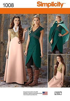 Simplicity Sewing Pattern Misses' Medieval Fantasy Costume Sizes 6 - 22 1008