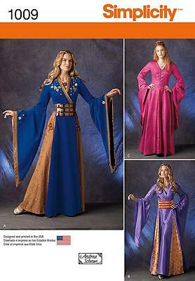 Simplicity Sewing Pattern Misses' Medieval Age Maiden  Costume Size 6 - 22 1009