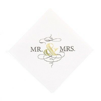 50 Ooh La Color Non-Personalized Mr and Mrs Wedding Cocktail Napkins