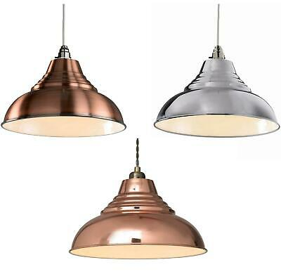 "12"" 30cm Vintage Retro Metal Ceiling Lamp Shade Light Lampshade Copper or Chrome"