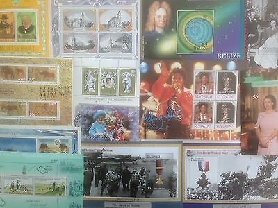 100 Different British Commonwealth Mini-sheets Stamp Collection