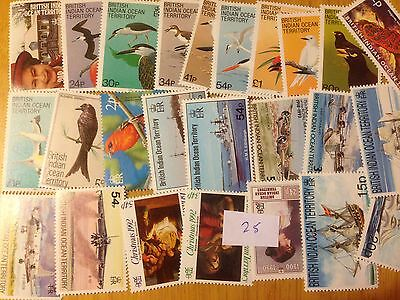 25 Different British Indian Ocean Territory Stamp Collection