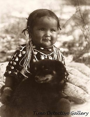 Native American Crow Child with a Puppy - Historic Photo Print
