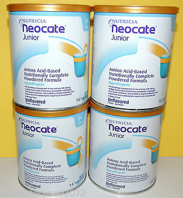 4 - 14.1oz cans NEOCATE JUNIOR Jr UNFLAVORED by NUTRICIA - NEW