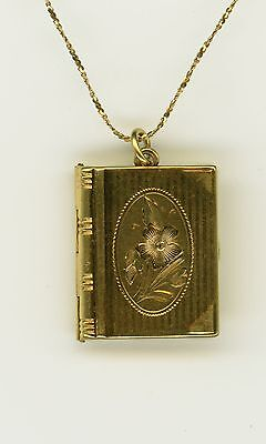 Gold Book Shaped Picture Locket Flower Blossom Etched & Necklace 925 Fine 1103