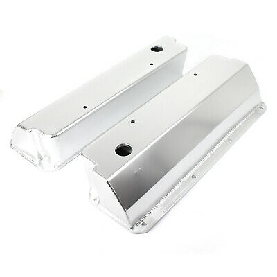 Ford 302 351C Cleveland Satin Fabricated Valve Covers - Tall w/ Hole
