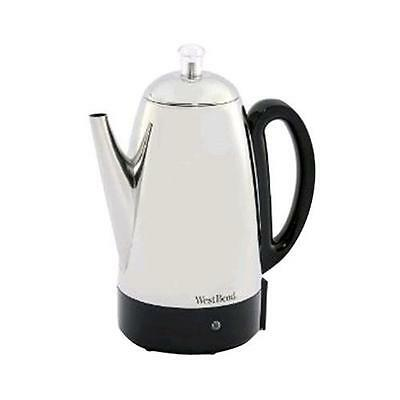 West Bend 54159 12 Cup Stainless Steel Percolator New