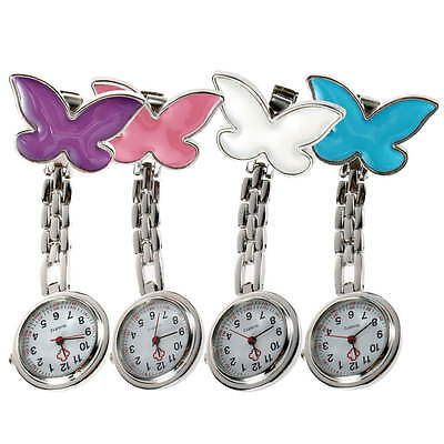 Cute Pendant Butterfly Nurse Clip-on Brooch Quartz Hanging Pocket Watch New UF