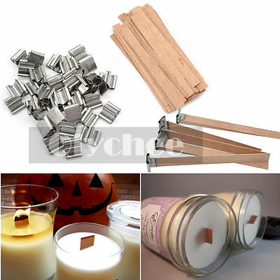 50 Pcs Wooden Wick Candle Core Sustainers Tab DIY Candle Making Pick Size Supply