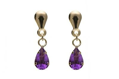 Amethyst Drop Earrings Natural Amethyst Earrings Yellow Gold Drop earrings