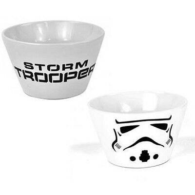 White Stoneware Cereal or Soup Bowl - Star Wars Stormtrooper Design
