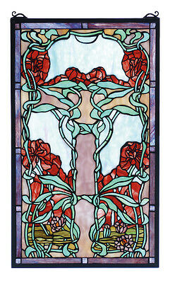 "Meyda Home Bedroom Decorative 15""W X 25""H Nouveau Lily Stained Glass Window"
