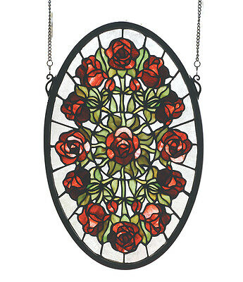 "Meyda Home Bedroom Decorative 11""W X 17""H Oval Rose Garden Stained Glass Window"