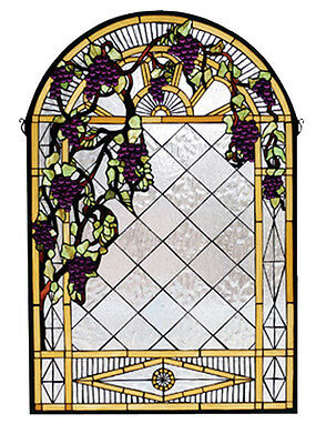 "Meyda Bedroom Decorative 24""W X 36""H Grape Diamond Trellis Stained Glass Window"