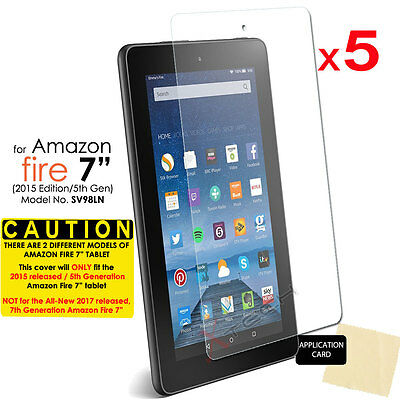 "5x CLEAR Screen Protector Covers for Amazon Fire 7"" Tablet 2015 / 5th Generation"