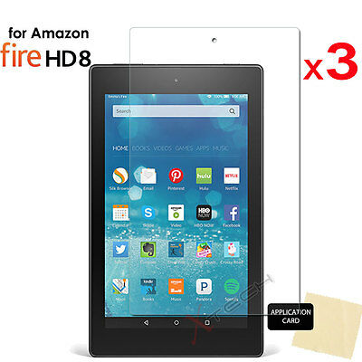 3x CLEAR Screen Protector Covers for Amazon Fire HD 8 Tablet (All Generations)