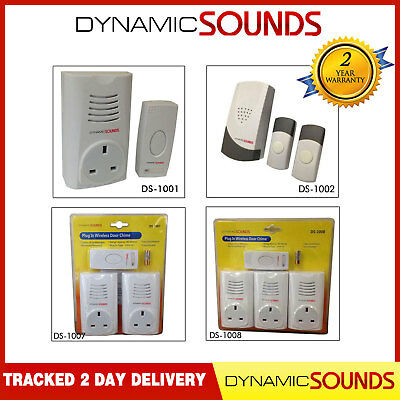 Dynamic Plug in Wireless Door Bell Chime Mains with Socket UP TO 80M Range
