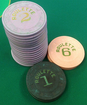 20 Paulson Roulette Clay Poker Chips Casino Quality Free Shipping