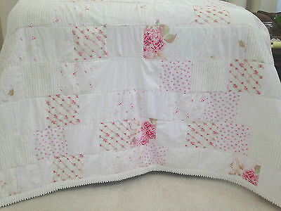 Simply Shabby Chic 100% Cotton White & Pink Rose Chenille Patchwork Quilt Twin