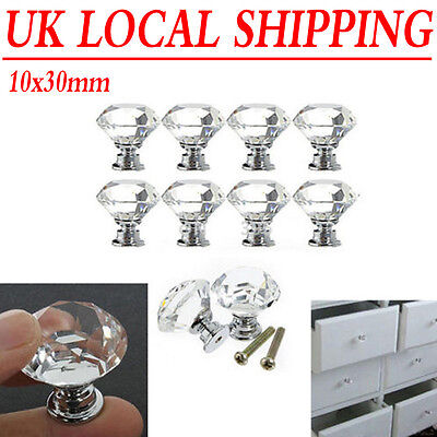 10X 30mm Crystal Glass Cabinet Knobs Cupboard Drawer Door Furniture Pull Handle